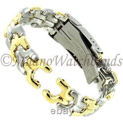 16mm Milano High Quality Two Tone All Stainless Solid Link Watch Band BB0438-MO