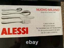 ALESSI NUOVO MILANO design by Ettore Sottsass 1987, 9 table sets x 4 pieces NEW