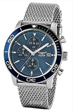 AVIATOR Watch Mens Steel Mesh Milano Metalic Bracelet Blue Dial Waterproof 100m