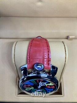 BNIB GaGà Milano Manuale 48mm Multicolour Dial Red Alligator Leather Strap