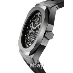 D1 Milano D1-SKRJ02 Men's Skeleton Silver/Black Rubber Automatic 41.5mm Watch