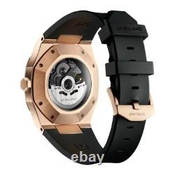 D1 Milano D1-SKRJ03 Men's Skeleton Rose-gold/Black Rubber Automatic 41.5mm Watch