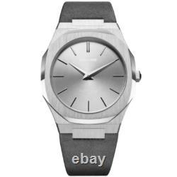 D1 Milano D1-UTBL08 Unisex Ultra-thin Grey Leather 38mm Watch