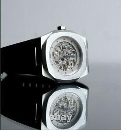 D1 Milano Skeleton Automatic Watch. Very Rare. Silver Case Black Strap. BNIB