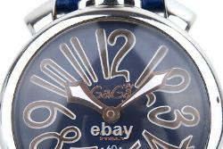 EX++ GAGA Milano Manuale 5010.11S Hand-Wound Stainless Steel Watch 48MM