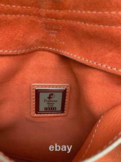 FONTANA Milano 1915 Muted Coral Nubuck Perforated Motif Saddle Bag 16.5 x 10
