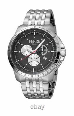 Ferre Milano Men's FM1G078M0071 Chronograph Black Dial Steel Date Wristwatch