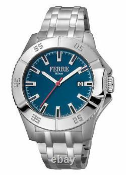 Ferre Milano Men's FM1G085M0061 Blue Dial Stainless Steel Date Wristwatch