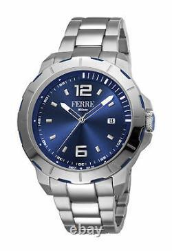 Ferre Milano Men's FM1G107M0071 Blue Dial Stainless Steel IP Date Wristwatch