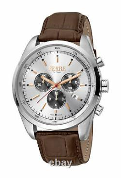 Ferre Milano Women's FM1G129L0011 Chrono Silver Dial Brown Leather Date Watch
