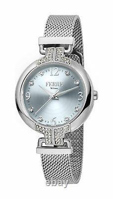 Ferre Milano Women's FM1L115M0051 Silver Dial Steel IP Mesh Bracelet Watch