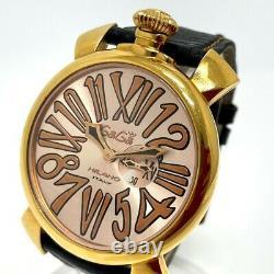 GAGA MILANO 5085.2 skeleton Manure 46 Quartz Wristwatch Gold/Pink Gold