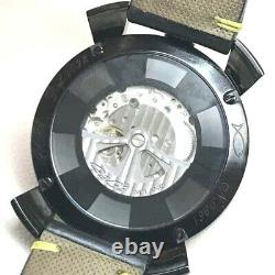 GAGA MILANO 9092 Manuale 48mm Mystery youth Wristwatch SS x leather belt Black