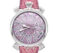 GaGa MILANO Slim 46 8054.6 Purple Dial SS/Leather Quartz Unisex Watch U#100703