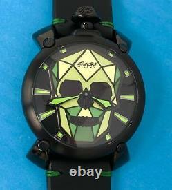 GaGà Milano Manuale Men's Mechanical Watch 48 Bionic Skull Black PVD Green