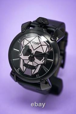 GaGà Milano Manuale Men's Mechanical Watch 48 Bionic Skull Black PVD Grey