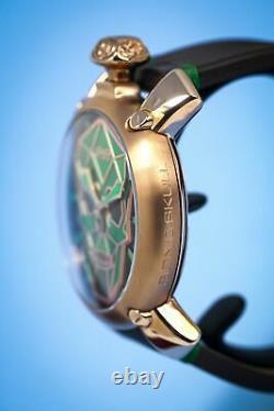 GaGà Milano Manuale Men's Mechanical Watch 48 Bionic Skull Rose Gold Green
