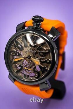 GaGà Milano Skeleton Unisex Mechanical Watch 48MM Black PVD Orange