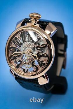 GaGà Milano Skeleton Unisex Mechanical Watch 48MM Rose Gold Black