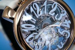 GaGà Milano Skeleton Unisex Mechanical Watch 48MM Rose Gold Blue
