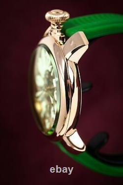 GaGà Milano Skeleton Unisex Mechanical Watch 48MM Rose Gold Green