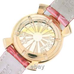 Gaga Milano Manuale 40 Watches Red Stainless Steel/leather Women White she
