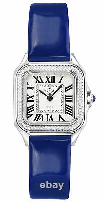 Gv2 By Gevril Women's 12100 Milan Diamond Blue Leather Wristwatch