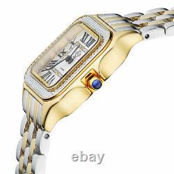 Lady's Gv2 Gevril 12103B Milan SWISS Diamond Two-Tone Yellow Gold Tank Watch NEW
