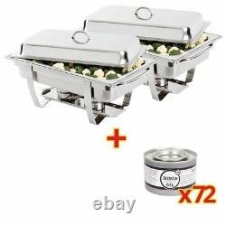 Milan Chafer & Olympia Chafing Gel Fuel Tins Stainless Steel 2 pc / 72 pc