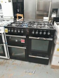NewithEx-display FLAVEL Milano 100 MLN10FRK Dual Fuel Range Cooker Black & Chrome