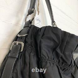 Prada Milano Black Ruched Nylon Tessuto Handbag Purse Leather Straps & Trim EUC
