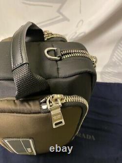 Prada Milano Technical Fabric Nylon Green Cosmetic Bag Dopp Kit 2VF029