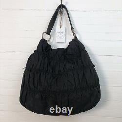 Prada Milano Womens Black Purse Ruched Nylon Tessuto Tote Leather Straps & Trim