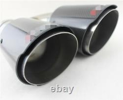 Universal h Shaped Dual Exhaust Tip Left+Right Muffler Pipe Glossy Carbon Fiber