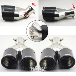 100% Carbon Stainless Exhaust Dual Tip Muffler Pipe Left+right Réglable 0-45°