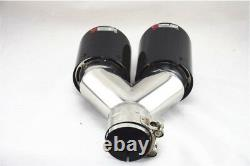 2x Luxe Dual Exhaust Tip Muffler Pipe Gloss Carbon Fiber Clamp On 2.5 Logo