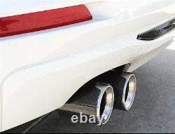 4x Glossy Carbon Fiber Car Stainless Exhaust Pipe Muffler Tip ID 2.5 Universel