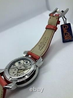 Bnib Gagà Milano Manuale 48mm Cadran Multicolore Bracelet En Cuir D'alligator Rouge