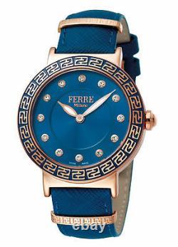 Ferre Milano Femme Fm1l041l0131 Gold Ip Steel Blue Leather Wristwatch