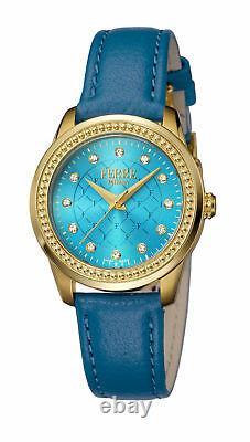 Ferre Milano Femme Fm1l063l0021 Gold Ip Blue Leather Wristwatch