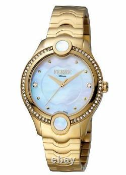 Ferre Milano Femme Fm1l082m0021 Gold Ip Montre-bracelet En Acier Inoxydable