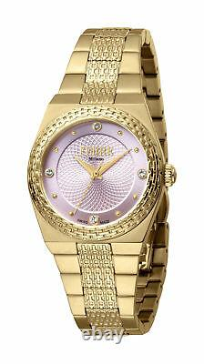 Ferre Milano Femme Fm1l091m0031 Pink Dial Gold Ip Montre-bracelet En Acier Inoxydable