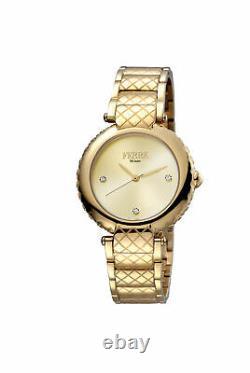 Ferre Milano Femme Fm1l099m0061 Gold Ip Montre-bracelet En Acier Inoxydable