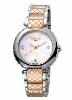 Ferre Milano Femme Fm1l099m0091 Mop Dial Montre-bracelet En Acier Inoxydable Bicolore