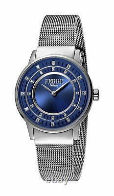 Ferre Milano Femme Fm1l102m0051 Blue Dial Stainless Steel Ip Montre-bracelet