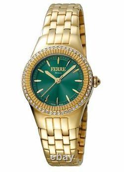 Ferre Milano Femmes Fm1l089m0071 Green Dial Gold Ip Montre-bracelet En Acier Inoxydable