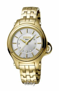 Ferre Milano Femmes Fm1l090m0031 Silver Dial Gold Ip Stainless Steel Watch