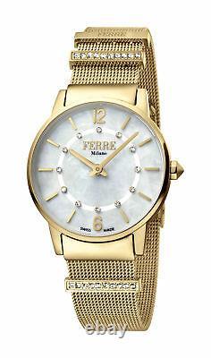 Ferre Milano Femmes Fm1l102m0211 Mop Dial Gold Ip Stainless Steel Watch