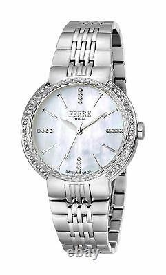 Ferre Milano Femmes Fm1l113m0011 Diamonds Mop Dial Stainless Steel Ip Watch