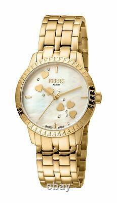 Ferre Milano Femmes Fm1l128m0031 Champagne Mop Dial Gold Ip Steel Wristwatch